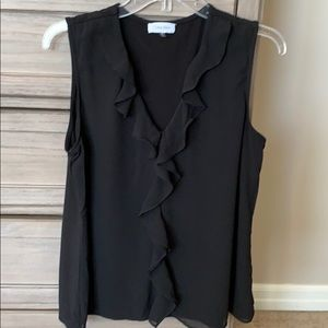 Calvin Klein sleeveless blouse with ruffled front